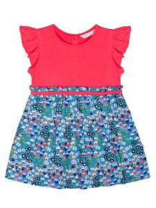 Infant Girls Pink & Blue Printed A-Line Dress