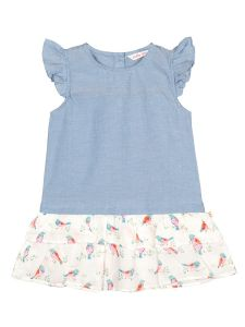 Girls Blue & Off-White Printed