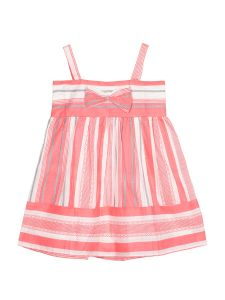 Girls Pink & White Striped A-Line Dress