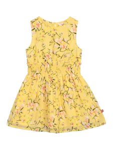 Girls Yellow Printed Fit and Flare Dress