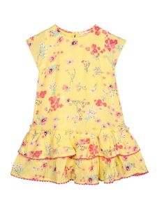 Girls Yellow Floral Printed A-Line Dress