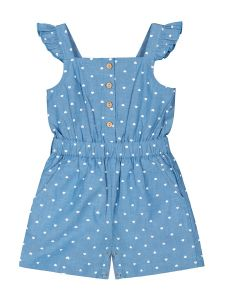 Infant Girls Blue & White Printed Denim Playsuit