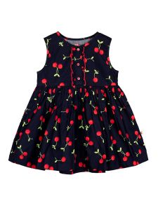 Girls Navy Blue Printed Fit and Flare Dress
