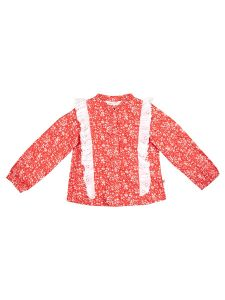 Girls Coral Printed Lace Frill Top