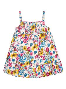 Girls White & Blue Floral Printed A-Line Dress