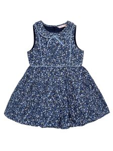 Girls Blue Floral Printed Fit and Flare Dress