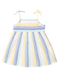 Girls Multicoloured Striped Fit and Flare Dress