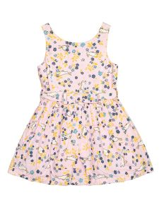 Girls Pink Floral Printed Fit and Flare Dress