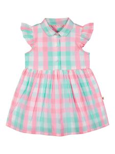 Girls White Checked Fit and Flare Dress