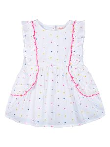 Girls White & Pink Printed Fit and Flare Dress