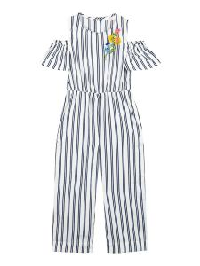 Girls Off-White & Blue Striped Basic Jumpsuit