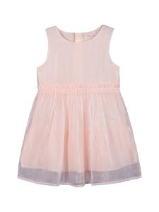 Girls Pink Solid Fit and Flare Dress