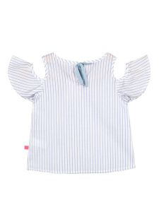 Girls White & Blue Striped Top