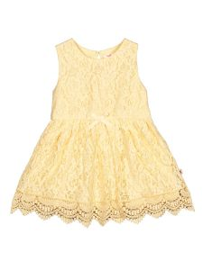Girls Yellow Lace Fit and Flare Dress