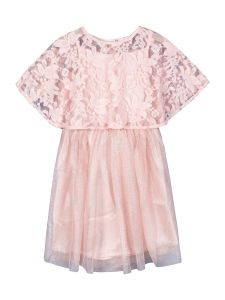 Girls Pink Self Design Fit and Flare Dress