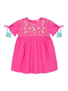 Girls Pink Embroidered Fit and Flare Dress