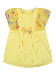 Girls Yellow Solid A-Line Dress