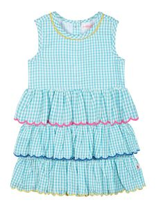 Girls Sea Green Checked Fit & Flare Dress