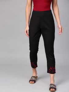 Designer Black Red Embroidery Bottom For Women