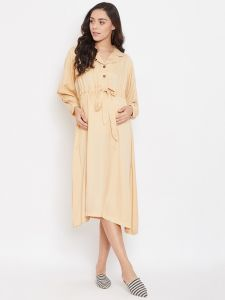 Beige Beauty Maternity Kaftan Dress With Nursing Slit