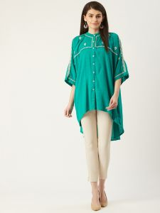 Designer Green Embroidery Top For Women