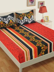 Black & Red Floral Flat 250 TC Cotton 1 King Bedsheet with 2 Pillow Covers