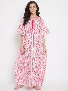 Pink Striped Batik Hand Block Kaftan