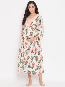 Rose Floral Printed Maternity Nightdress With Nursing Slit