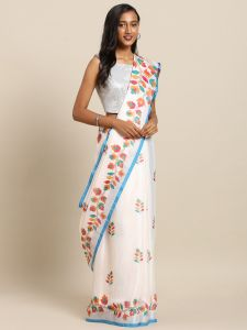 Sky Flower Valley Pure Linen Onam Spc Kerala Saree