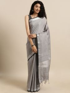Attractive plain Angolla Linen Saree