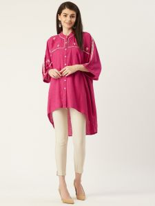 Designer Pink Embroidery Top For Women