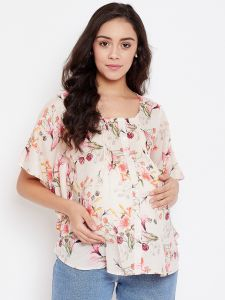 Ivory Blooms Maternity Kaftan Top With Nursing Slit
