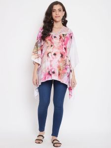 Floral Abstract Pinks Maternity Top