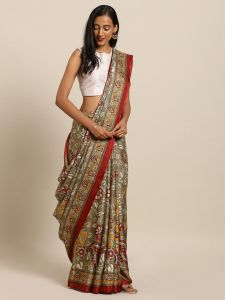 New Linen Chanderi Pen KalamKari Print Soft Saree