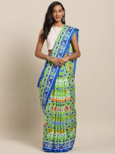 New Linen Chanderi Silk Small Patola Print Saree