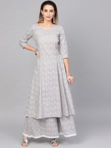 Grey khadi printed kurta set