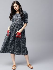 Grey & Black Printed A-Line Dress Embroidered Pocket