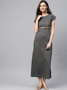 Grey straight maxi dress
