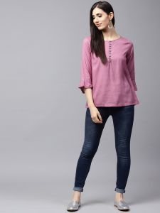 Purple Solid Tunic with pleated Sleeve