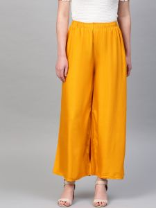 Designer Solid Yellow Palazzos For Women