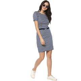 Zima Leto Women's Thick Stripe Plain Dress