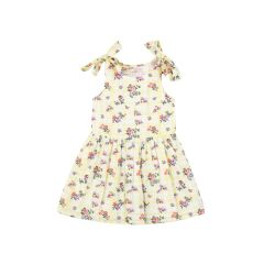 Girls Yellow Floral Print Fit and Flare Dress