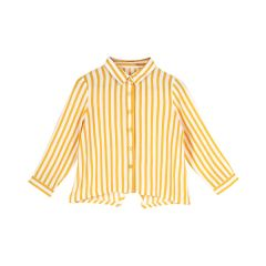 Infants Yellow & White Striped Shirt Style Top