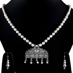 Silver Plated Long Pearl Necklace set